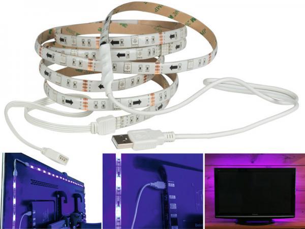 led band rgb usb 4er set je 500mm f r tv hinterleuchtung mit fernbedienung ero lichttechnik. Black Bedroom Furniture Sets. Home Design Ideas